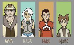Human Appa, Momo, Naga, Pabu