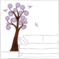 Lavender Flowering Tree and Birds Wall Sticker por MyWallStickers, $95.99