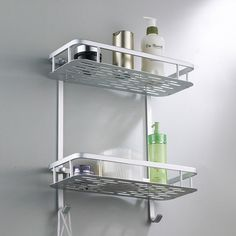 Bathroom Rack Space Aluminum Towel Washing Shower Basket