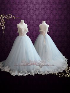 Light Blue Wedding Dress With Lace Bodice Ball Gown by ieie