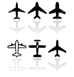Airplane symbol set vector 567269 - by bytedust on VectorStock®