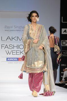 Ash Gray Tulle Mukaish Kalidaar Pakistani Kurta with Crystal Embroidered Yoke and Banarsi Georgette Chemise worn with Rani Pink Silk Brocade Salwar and Tulle Dupatta. SHOP THIS LOOK: http://www.payalsinghal.com/search/zoya-kalidar