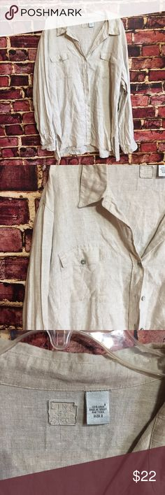 💜Chico's khaki linen button down shirt blouse top Size 3, which fits like an XL. Lino by Chico's. Button front. Front pockets 100% linen. EUC  💟Fast 1-2 day shipping 💟Reasonable offers accepted 💟Purchase 3 or more items & get a special bundle rate!  💟Smoke-free home Chico's Tops Blouses