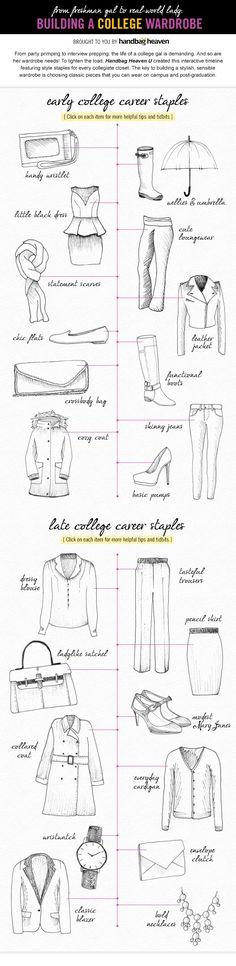 How to build a college wardrobe via @handbagheaven http://www.handbagheaven.com/style-guide/handbag-heaven-university