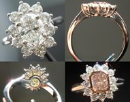"""Semi Mount Ring: Hand Made """"Princess"""" Halo Ring in Platinum SO4108"""