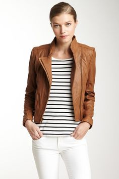 Spring Essential: Lamb Leather Asymmetrical Jacket by Kenneth Cole