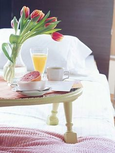 Good Morning Breakfast in Bed~ But that's not breakfast. Where's my protein?
