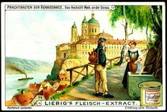 "Liebig Beef Extract ""Renaissance Monuments"" German issue 1910 Benedictine Abbey of Melk on the Danube, Austria"