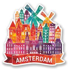 2-x-Amsterdam-Holland-Vinyl-Sticker-Decal-Luggage-Travel-Netherlands-5783-SV