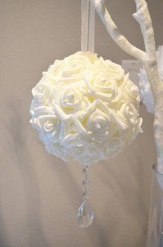 "Crystal Bling Elegant 6"" Wedding white hanging foam flower balls, WEDDING CENTERPIECE, wedding pomanders kissing balls"