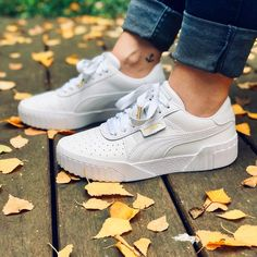 Puma Cali the hottest Puma sneaker for women Link in Bio Totally popular . Moda Sneakers, Sneakers Mode, Sneakers Fashion, Fashion Outfits, Sneaker Outfits, Ensembles Outfit, Selena Gomez, White Puma Sneakers, Puma Shoes Women
