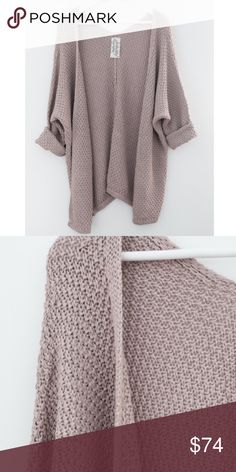 ✨BACK IN STOCK✨ Slouchy sweater knit cardigan Slouchy sweater knit cardigan Long dolman sleeves Loose fitting Asymmetrical silhouette  55% Acrylic 45% Cotton Sadie & Sage Sweaters Cardigans