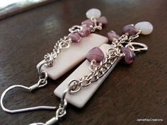 Purple and Opalite Hearts and Mother of Pearl Shell Dangle Earrings Handmade by JamieRayCreations, $36.00