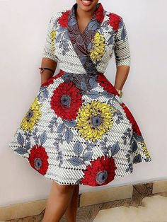 kitenge designs Print V-Neck Knee-Length Three-Quarter Sleeve Standard-Waist Women's Day Dress Short African Dresses, Latest African Fashion Dresses, African Print Dresses, African Print Fashion, Ankara Fashion, Africa Fashion, Tribal Fashion, African Prints, Short Dresses