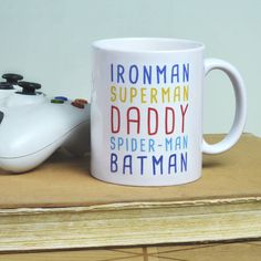 Personalised Superhero Mug by Oakdene Designs, the perfect gift for Explore more unique gifts in our curated marketplace. Large Cardboard Boxes, Unique Gifts, Great Gifts, Fathers Day Mugs, Bubble Wrap, Gifts For Friends, Kitchen Dining, Personalized Gifts, Seen