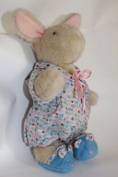 * Pajama Game - Hoppy VanderHare by North American Bear Co. Vintage With Tags Cute Rabbit comes with Pajamas and Blue Slippers