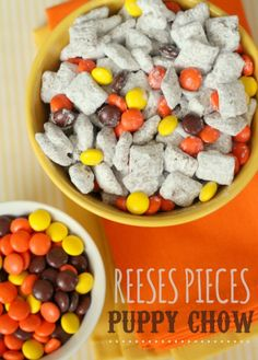 Pieces Puppy Chow Reeses Pieces Puppy Chow recipe - OH MY SWEETNESS! That just takes Puppy Chow to a whole new level. As if it couldn't get any better!Chow Chow may refer to: Puppy Chow Crispix Recipe, Puppy Chow Recipes, Chex Mix Recipes, Snack Recipes, Dessert Recipes, Dessert Ideas, Snack Hacks, 13 Desserts, Desserts To Make