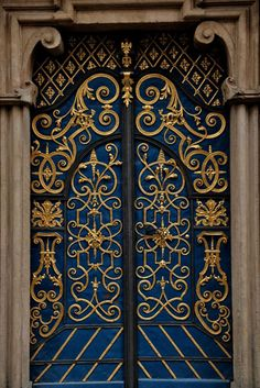 Blue - azul - gold - ouro - door - porta