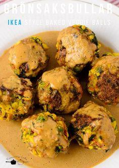 IKEA style Baked veggie balls - Grönsaksbullar - Swedish Vegan Meatballs - Vegan and Glutenfree Veggie Ball Recipe, Balls Recipe, Ikea, Veggie Cakes, Veggie Food, Veggie Meatballs, Jelly Meatballs, Whole Food Recipes, Cooking Recipes