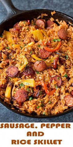 Smoked Sausage Recipes, Pork Recipes, Cooking Recipes, Healthy Recipes, Polish Sausage Recipes, Chicken Sausage Recipes, Healthy Food, Kilbasa Sausage Recipes, Kielbasa Recipes Rice