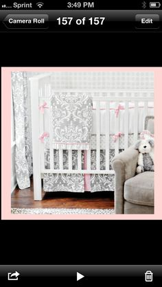 Pink and gray baby nursery bedding! In love!!!