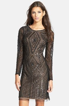 Adrianna Papell Beaded Mesh Sheath Dress
