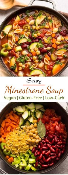 Vegetarian Recipes Discover Easy Minestrone Soup Simple Minestrone Soup the ideal hand crafted ameliorating feast on a crisp day. The best part is that this great minestrone soup formula is sound Tasty Vegetarian Recipes, Healthy Dinner Recipes, Whole Food Recipes, Healthy Dinners, Vegitarian Soup Recipes, Diet Soup Recipes, Healthy Crockpot Soup Recipes, Easy Healthy Vegetarian Recipes, Vegetarian Crockpot Soup