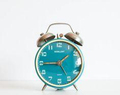 Clock, Vintage Alarm Clock,Home Decor Desk Clock, Office Decor, Excellent, Turquoise Blue