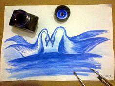 Lavi tekniği-Mavi mürekkep-Kuğular..İnk stain-blue stain-blue swans..-for sale-BURSA