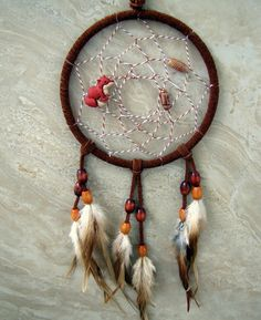 Dream Catcher  Rusty Brown and Orange Feather by peacefrogdesigns, $38.00