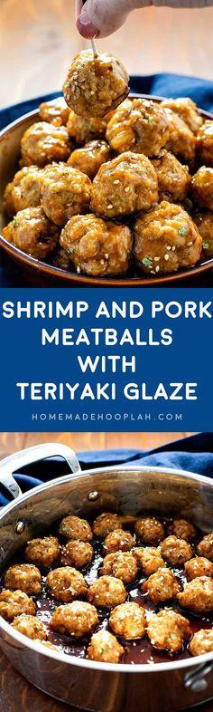 Pork and Shrimp Meatballs with Teriyaki Glaze! Savory pork and ...