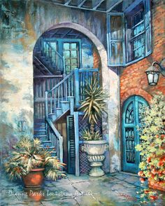 Brulatour Courtyard, New Orleans French Quarter Art, Stretched Canvas or Print, New Orleans Art, by New Orleans Artist Dianne Parks