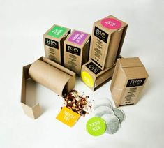 ECO-PACKAGING FOR TEA via Lucia Plevová Eco-design created from waste materials - paper tubes in combination with printed thinner cardboard and colored graphics. Material: paper tubes, cardboard, stickers. - See more at: http://jayce-o.blogspot.com/2012/11/eco-friendly-tea-packaging-designs-inspiration.html#sthash.WJTIKqgs.dpuf