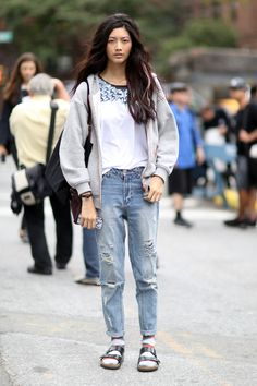 Boyfriend jeans and Birkenstocks. NYC
