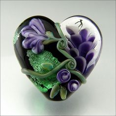 HEARTS AND FLOWERS - Purple and Green Lampwork Heart Pendant Bead