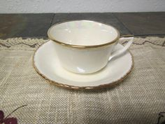 vintage PEARL Tea CUP & SAUCER Pearl like finish, Hand Decorated 22 kt gold trimmed by mauryscollectibles on Etsy