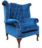 Chesterfield Queen Anne High Back Fireside Wing Chair Royal Blue Fabric