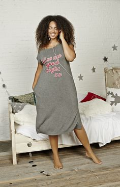 Long Sleepshirt with Front Print - Déesse Collection Plus Size Sleepwear 28cf6ef66