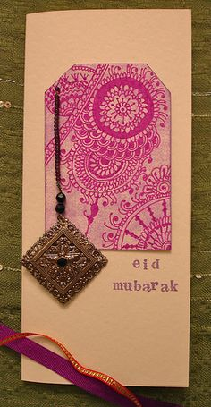"Giving Eid cards is trendy in Muslim culture. Eco-designer Zaufishan demonstrates how she ""upcycles"" old spangles and scraps, into jazzy new handmade Eid cards Eid Crafts, Ramadan Crafts, Ramadan Decorations, Ramadan Food, Ramadan Greetings, Eid Mubarak Greetings, Eid Greeting Cards, Christmas Greeting Cards, Fest Des Fastenbrechens"