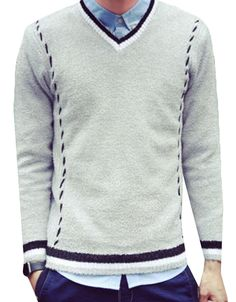 Jaycargogo Men Fashion V-Neck Long Sleeve Knitted Sweaters