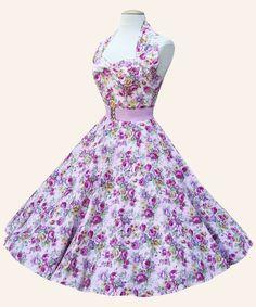 50s Halterneck Floral Dress | 1950s Dresses from Vivien of Holloway