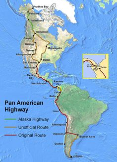 The full Pan American Highway, (including South America), from Prudhoe Bay, Alaska to Ushuaia, Argentina. San Salvador, Ushuaia, Pan American Highway, Prudhoe Bay, Road Trip Map, Road Trips, Alaska Highway, Highway Map, Alcan Highway