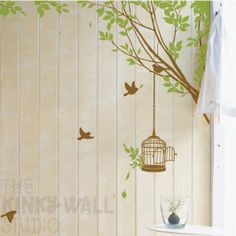 Art Wall Decal Wall Sticker tree decal - Branches Corner with Decorative Bird Cage -kk107. $62.00, via Etsy.
