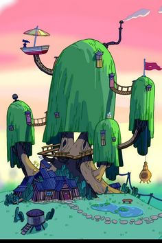 Adventure time treehouse wallpaper hd wallpaper