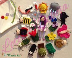 Tavaszi ujjbábok, Játék, Baba-mama-gyerek, Báb, Készségfejlesztő játék, Meska Finger Puppets, Felt Crafts, Home Made Games, Felt Flowers, Fingers, Felting, Hand Puppets, Felt
