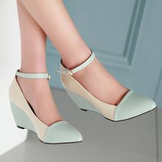 Meotina Shoes Women Pumps Autumn Pointed Toe Ankle Strap High Heels Wedges Shoes Blue Black Ladies Shoes Big Size 40 41-in Women's Pumps from Shoes on Aliexpress.com | Alibaba Group