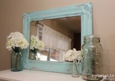 Maybe bedroom with dad's blue mason jars Etsy Shabby Chic Decor Distressed Large Mirror