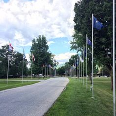 Flags of the 50 states #NJ on the road entrance to Vermont State Veterans Home and war memorials. #Vermont #veterans #Bennington #GardenState