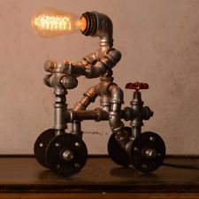 Retro Industrial Iron Steampunk Pipe Robot Desk Table Lamp Reading Light Fixture