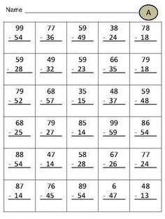 2 worksheets for double digit addition with regrouping. MORE MATH PRODUCTS: Double Digit Addition With Regrouping ***Double Digit Subtraction With Regrouping ***Double Digit Subtraction Without Regrouping ***Triple Digit Addition Without Regrouping ***. Mental Maths Worksheets, Addition And Subtraction Practice, First Grade Math Worksheets, Addition And Subtraction Worksheets, English Worksheets For Kids, School Worksheets, 1st Grade Math, Math Resources, Math For Kids